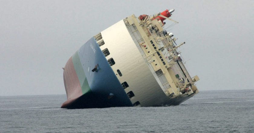 July 23, 2006 – The Cougar Ace car carrier lists, 4,703 Mazdas later crushed