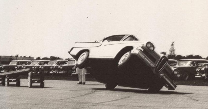 August 27, 1957 – Press event launches Edsel with stunt show